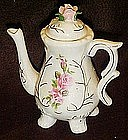 Little girl's porcelain  teapot with pink roses, & legs