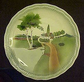 Antique Germany cabinet plate, Pastoral scenic