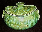 Eames era lime and turquoise drip covered casserole