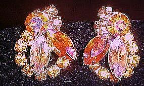 Pink and yellow aurora boralis rhinestone clip earrings