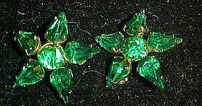 Emerald green  rhinestone scatter pin stars  duo