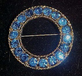 Stunning blue rhinestone circle pin
