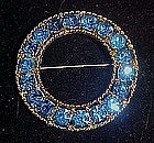 Stunning blue rhinestone circle pin