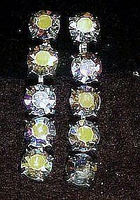Vintage Aurora boralis  rhinestone drop earrings, clips