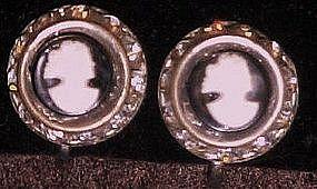 Vintage cameo and rhinestone earrings, screw back