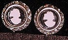 Vintage cameo and rhinestone earrings, screw back