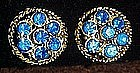 Gold tone blue rhinestone earrings, clips