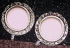 Vintage earrings, white center with rhinestones