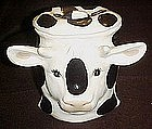 Black and white  ceramic cow head cookie jar