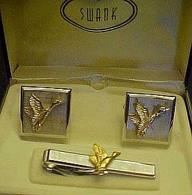 Swank cuff links and tie bar set, Ducks, orig. box