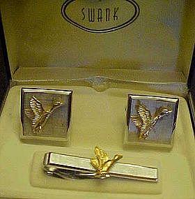Swank cuff links and tie bar set, Ducks, orig. box