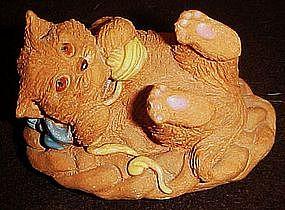 Handmade clay kitten figurine, Nice