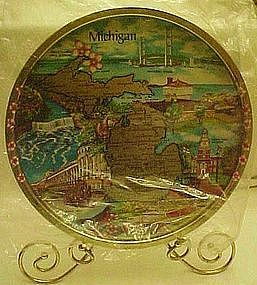Metal state souvenir tray, Michigan, new old stock