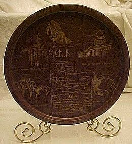 Metal souvenir state tray, Utah, new old stock