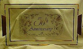 Vintage 50th Anniversary glass tray, teak handles