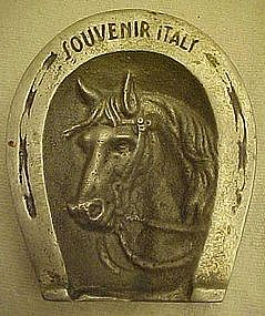 Vintage souvenir ashtray, horseshoe,horse, Italy