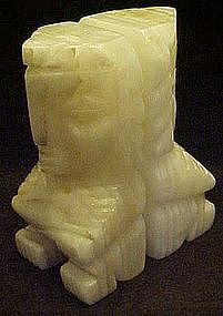 Natural onyx TRAVERTINE totem bookends, Aztec figures