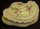 Hand painted porcelain vanity box with roses