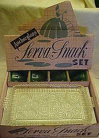 Anchor Hocking boxed snack set, forest green / crystal