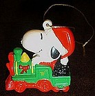 Whitmans Snoopy riding train pvc Christmas ornament