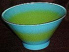 Retro large blue green spray mist salad bowl