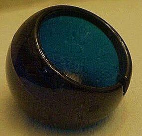 """Viking Glass 4"""" sphere ashtray, bluenique"""