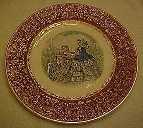 Godey Prints service plate, rust border, Salem China