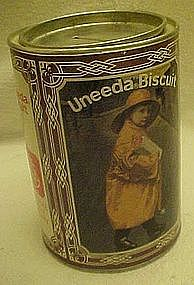 Uneeda Biscuit tin, bank, raincoat girl