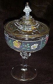 Vintage hand painted tall covered compote