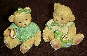 Cherished Teddies, Paws for luck, mini Irish figurines
