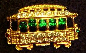 Rhinestone trolly car pin,