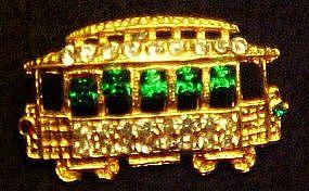 Rhinestone trolly car pin,