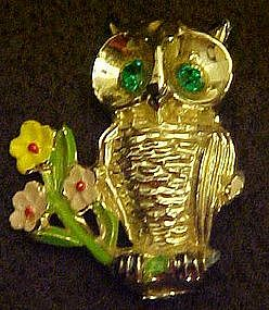 Vintage owl pin with rhinestone eyes