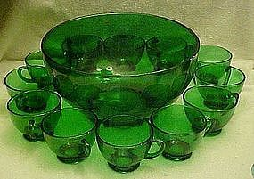 Anchor Hocking forest green punch bowl,  and 12 cups