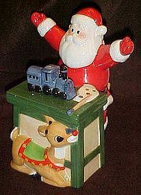 Lenox Santa and Rudolph, ceramic  Christmas treat jar
