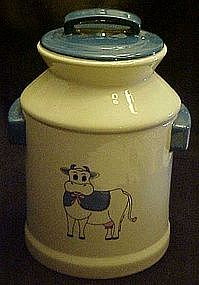 Milk can cookie jar, with cow
