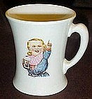 Original Hires Rootbeer soda fountain mug, Hires boy