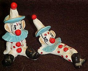Vintage hand painted pottery clowns, Kelvin's
