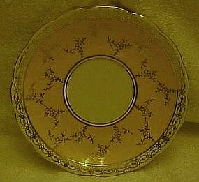 Czechoslovakia saucer  yellow band with gold filigree