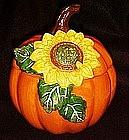 Big Pumpkin cookie jar with sunflower