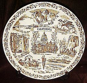 California  state souvenir plate by Vernon Kilns