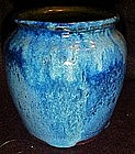 Heavy blue glaze pottery vase