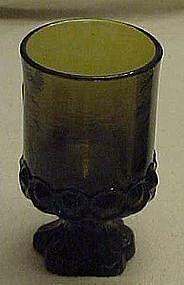 "TIffin Madeira 6 5/8"" tall footed tumbler, olive green"