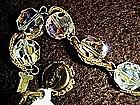 Vintage Bergere` aurora  borealis crystal necklace