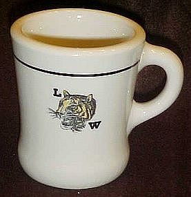 Vintage Wallace china coffee mug, LW Wildcat logo