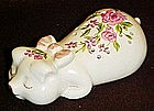 Avon ceramic floral  pig pomander,  sachet scent