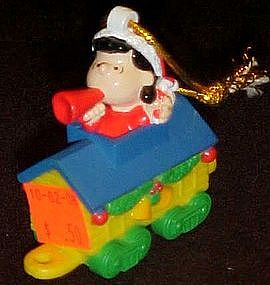Peanuts Lucy and her megaphone train ornament