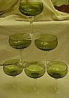 Set of 6 hand blown stemware, green and crystal