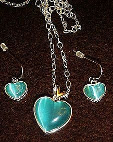 Avon blue heart necklace and matching earrings