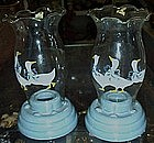 Aunt Rhody blue goose candle lamps, pair